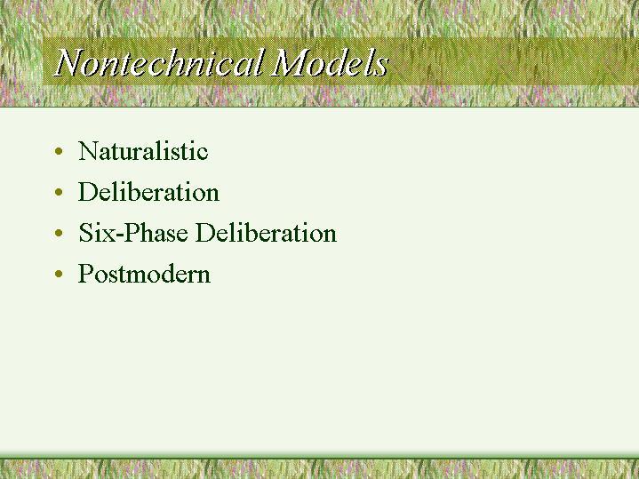 Nontechnical Models