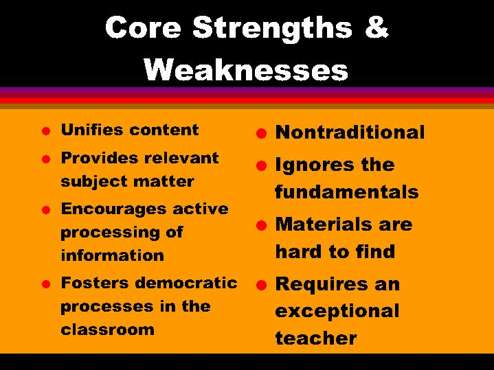 teaching strengths and weaknesses